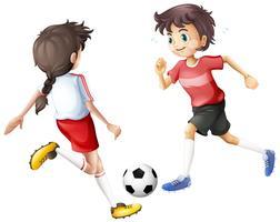 Joueurs de football sur fond blanc