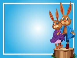 Modèle de bordure avec deux lapins