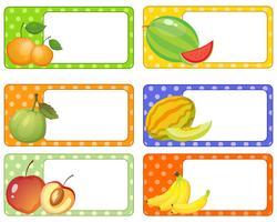 Création d'étiquettes avec des fruits frais vecteur