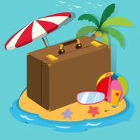 Objets de voyage sur l'île
