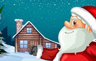 Père Noël et fond de cabane d'hiver vecteur
