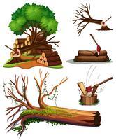 Un ensemble d'arbres en cours de coupe vecteur