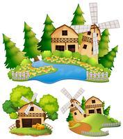 Granges et moulin à vent à la ferme vecteur