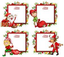 Modèle de quatre frontières avec le père Noël et elf vecteur