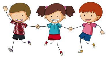 Trois enfants se tenant la main vecteur