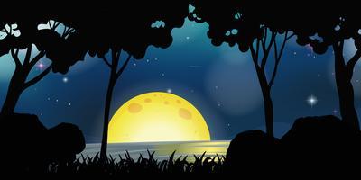 Scène de fond avec la pleine lune la nuit