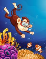 Singe plongeant sous l'océan vecteur