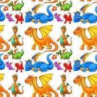 Seamless différents types de dragons