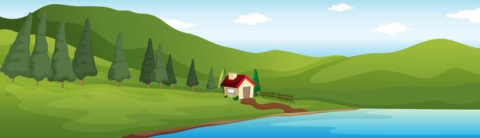 Scène de fond avec maison au bord du lac