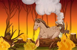Un cheval qui court dans la forêt de feu de forêt