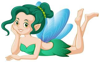 Jolie fée en costume vert vecteur