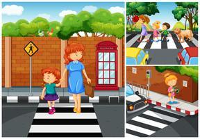 Personnes traversant la rue