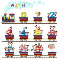 Les enfants dans le train des chiffres