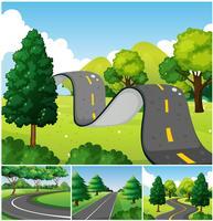 Quatre scènes de parc avec des routes