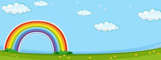 Scène de fond avec arc en ciel coloré vecteur
