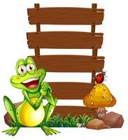 Une grenouille souriante devant les panneaux vides vecteur