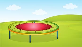 Un trampoline dans la cour de récréation vecteur