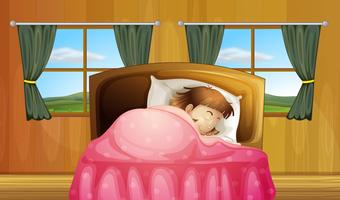 Fille sur lit vecteur