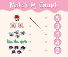 Match par nombre avec différents types d'insectes vecteur