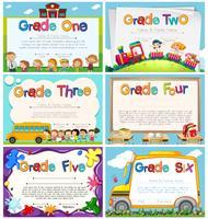Modèles de diplôme pour l'école primaire vecteur