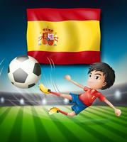 Drapeau de l'Espagne et joueur de football