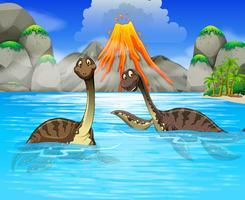 Dinosaures nageant dans le lac