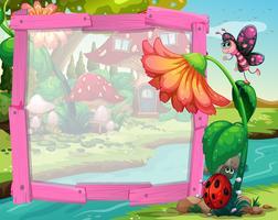 Bordure design avec fleur et insectes