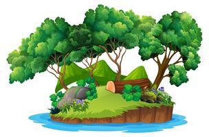 Île de nature verte isolée vecteur