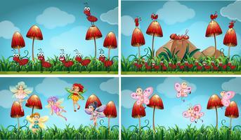Différents insectes dans le jardin