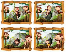 Quatre cadres de singes près de la grotte vecteur