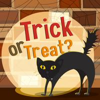 Thème Halloween avec chat noir vecteur