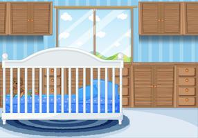 Scène de chambre à coucher avec lit bleu