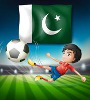 Drapeau du Pakistan et joueur de football