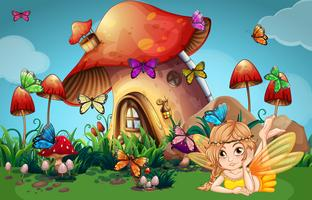 Fée et papillons à la maison aux champignons vecteur