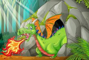 Dragon dans la grotte soufflant le feu