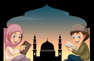 Fille et garçon musulman lisant des livres