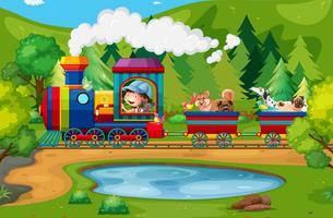 Train et nature vecteur
