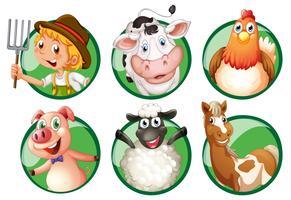 Agriculteur et agriculteurs sur des badges ronds