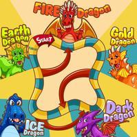 Modèle de jeu avec différents types de dragon vecteur