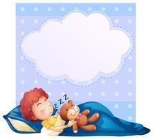 Bannière avec garçon endormi vecteur