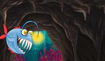Monstre marin nageant sous la mer