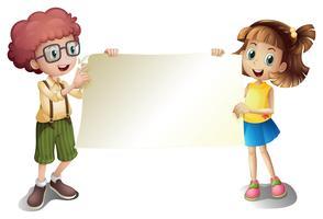 Une jeune fille et un jeune garçon tenant un panneau vide vecteur