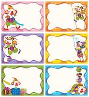 Création d'étiquettes avec des clowns joyeux vecteur