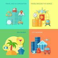 voyage jeu d'icônes plat