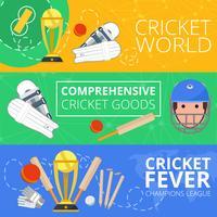 Bannières horizontales de cricket à plat