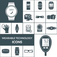 icônes de technologies portables noir