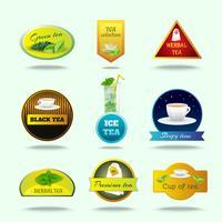 Ensemble d'étiquettes de thé vecteur