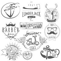 Étiquettes vintage hipster noir vecteur