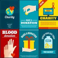 Ensemble d'affiches de charité vecteur