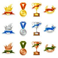 Ensemble de récompenses et de médailles vecteur